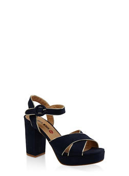 Criss Cross Block Heel Platform Sandals - NAVY - 3111073112540
