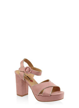 Criss Cross Block Heel Platform Sandals - BLUSH - 3111073112540