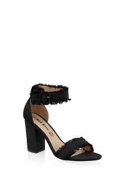 Frayed Band Block Heel Sandals - BLACK - 3111073112820