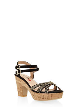 Studded Cork Platform Sandals - BLACK - 3111073115430