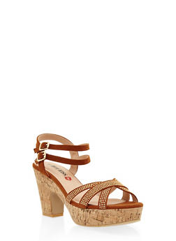 Studded Cork Platform Sandals - TAN - 3111073115430