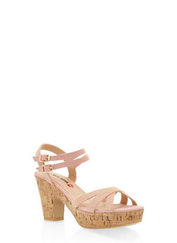 Studded Cork Platform Sandals - BLUSH - 3111073115430