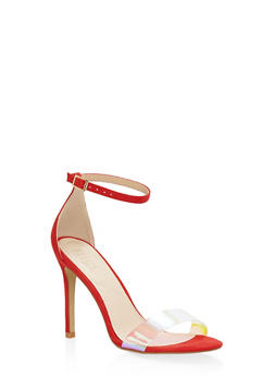 Clear Band High Heel Sandals - RED - 3111073541001