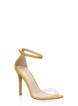 Clear Band High Heel Sandals - YELLOW - 3111073541001
