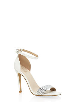 Metallic Detail Ankle Strap High Heel Sandals - WHITE - 3111073541002