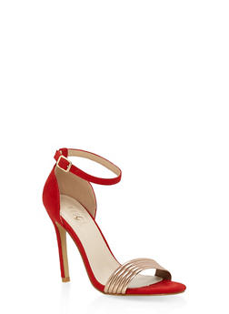 Metallic Detail Ankle Strap High Heel Sandals - RED - 3111073541002