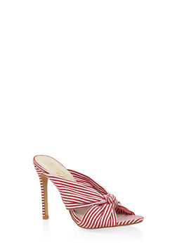 Striped Knot High Heel Mules - RED - 3111073541003