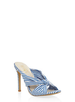 Striped Knot High Heel Mules - BLUE - 3111073541003