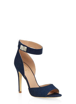 Peep Toe High Heel Sandals - BLUE DENIM - 3111073541004