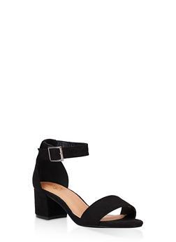 One Band Block Heel Sandals - BLACK SUEDE - 3111073541005