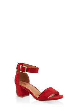 One Band Block Heel Sandals - RED S - 3111073541005