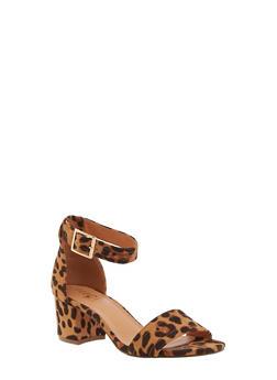 One Band Block Heel Sandals - LEOPARD PRINT - 3111073541005