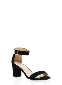 Ankle Strap Block Heel Sandals - BLACK SUEDE - 3111073541006
