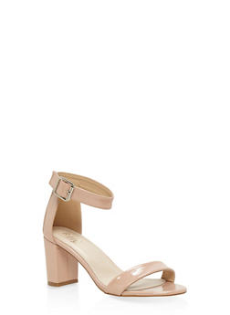 Ankle Strap Block Heel Sandals - NUDE - 3111073541006