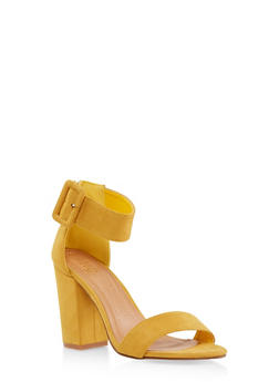 Buckle Ankle Strap Block Heel Sandals - MUSTARD - 3111073541013