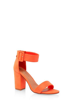 Buckle Ankle Strap Block Heel Sandals - NEON ORANGE - 3111073541013