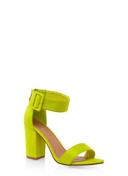Buckle Ankle Strap Block Heel Sandals - NEON YELLOW - 3111073541013