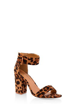 Buckle Ankle Strap Block Heel Sandals - LEOPARD PRINT - 3111073541013