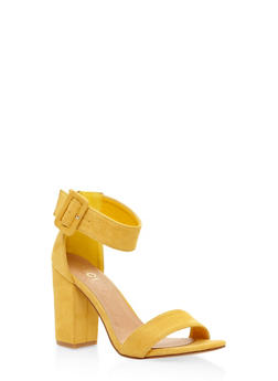 Ankle Strap Block Heel Sandals - YELLOW - 3111073541027