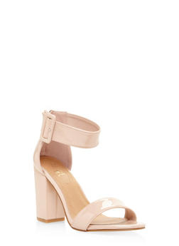 Ankle Strap Block Heel Sandals - BLUSH - 3111073541027
