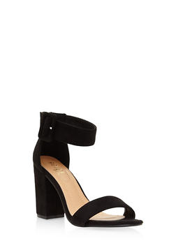 Ankle Strap Block Heel Sandals - BLACK SUEDE - 3111073541027