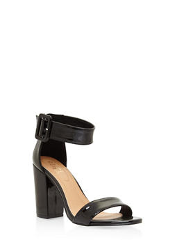 Ankle Strap Block Heel Sandals - BLACK PATENT - 3111073541027