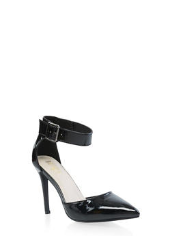 Pointed Toe Ankle Strap Pumps - BLACK - 3111073541029