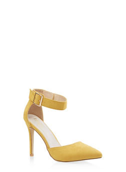 Pointed Toe Ankle Strap Pumps - YELLOW - 3111073541029