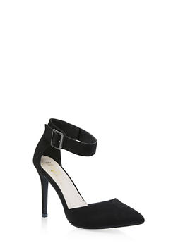 Pointed Toe Ankle Strap Pumps - BLACK SUEDE - 3111073541029