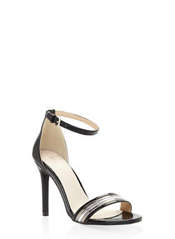 Ankle Strap High Heel Sandals - BLACK - 3111073541030