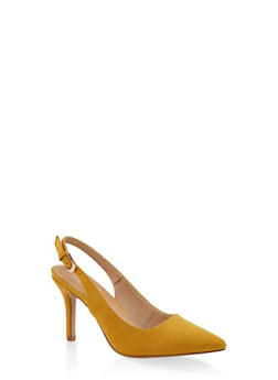 Pointed Toe Slingback Pumps - MUSTARD - 3111073541035