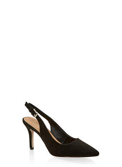 Pointed Toe Slingback Pumps - BLACK SUEDE - 3111073541035