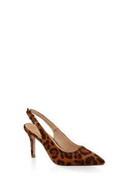 Pointed Toe Slingback Pumps - LEOPARD PRINT - 3111073541035