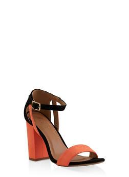 Block High Heel Sandals - NEON ORANGE - 3111073541050