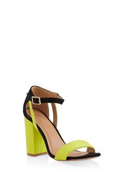 Block High Heel Sandals - NEON LIME - 3111073541050