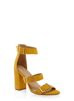 Three Buckle Strap High Heel Sandals - 3111073541052