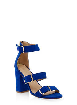 Three Buckle Strap High Heel Sandals - BLUE - 3111073541052