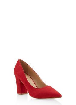 Block Heel Pointed Toe Pumps - RED S - 3111073541053