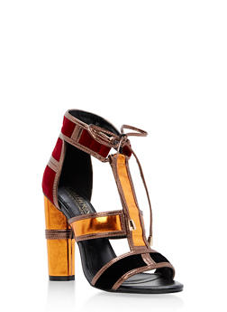 Round High Heel Ankle Tie Sandals - 3111073541783