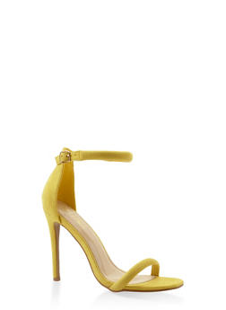 Ankle Strap Faux Suede High Heel Sandals - YELLOW - 3111074044257