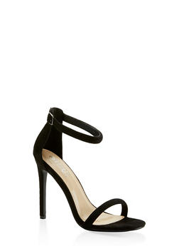 Ankle Strap Faux Suede High Heel Sandals - BLACK SUEDE - 3111074044257