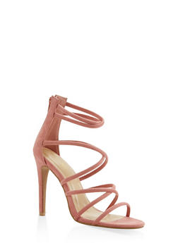 Strappy Faux Suede High Heel Sandals - MAUVE - 3111074047224