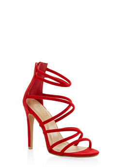 Strappy Faux Suede High Heel Sandals - RED - 3111074047224