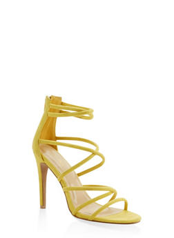 Strappy Faux Suede High Heel Sandals - YELLOW - 3111074047224