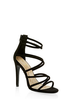 Strappy Faux Suede High Heel Sandals - BLACK SUEDE - 3111074047224