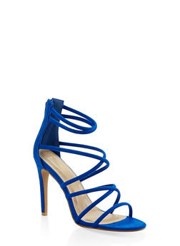 Strappy Faux Suede High Heel Sandals - BLUE - 3111074047224
