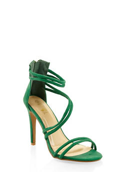 Faux Suede Cross Strap High Heel Sandals - GREEN - 3111074047225