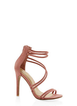 Faux Suede Cross Strap High Heel Sandals - MAUVE - 3111074047225