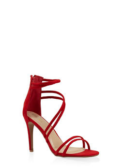 Faux Suede Cross Strap High Heel Sandals - RED - 3111074047225