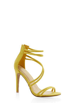 Faux Suede Cross Strap High Heel Sandals - YELLOW - 3111074047225